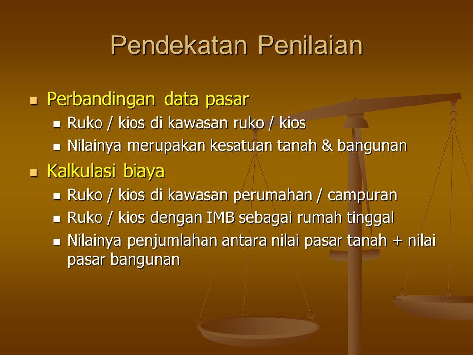 Pendekatan Penilaian Perbandingan data pasar Perbandingan data pasar Ruko / kios di kawasan ruko / kios Ruko / kios di kawasan ruko / kios Nilainya merupakan kesatuan tanah & bangunan Nilainya merupakan kesatuan tanah & bangunan Kalkulasi biaya Kalkulasi biaya Ruko / kios di kawasan perumahan / campuran Ruko / kios di kawasan perumahan / campuran Ruko / kios dengan IMB sebagai rumah tinggal Ruko / kios dengan IMB sebagai rumah tinggal Nilainya penjumlahan antara nilai pasar tanah + nilai pasar bangunan Nilainya penjumlahan antara nilai pasar tanah + nilai pasar bangunan