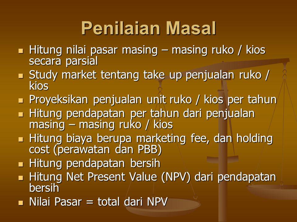 Penilaian Masal Hitung nilai pasar masing – masing ruko / kios secara parsial Hitung nilai pasar masing – masing ruko / kios secara parsial Study market tentang take up penjualan ruko / kios Study market tentang take up penjualan ruko / kios Proyeksikan penjualan unit ruko / kios per tahun Proyeksikan penjualan unit ruko / kios per tahun Hitung pendapatan per tahun dari penjualan masing – masing ruko / kios Hitung pendapatan per tahun dari penjualan masing – masing ruko / kios Hitung biaya berupa marketing fee, dan holding cost (perawatan dan PBB) Hitung biaya berupa marketing fee, dan holding cost (perawatan dan PBB) Hitung pendapatan bersih Hitung pendapatan bersih Hitung Net Present Value (NPV) dari pendapatan bersih Hitung Net Present Value (NPV) dari pendapatan bersih Nilai Pasar = total dari NPV Nilai Pasar = total dari NPV