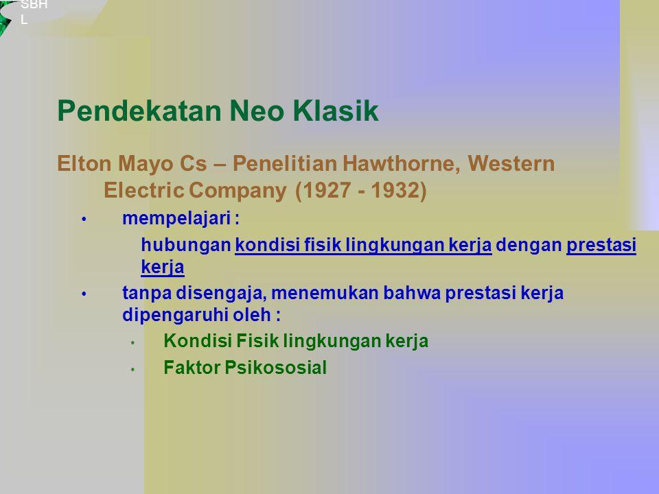 Pendekatan Neo Klasik Elton Mayo Cs – Penelitian Hawthorne, Western Electric Company (1927 - 1932) mempelajari : hubungan kondisi fisik lingkungan kerja dengan prestasi kerja tanpa disengaja, menemukan bahwa prestasi kerja dipengaruhi oleh : Kondisi Fisik lingkungan kerja Faktor Psikososial