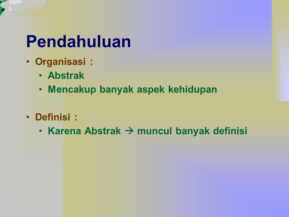 SBH L Pendahuluan Organisasi : Abstrak Mencakup banyak aspek kehidupan Definisi : Karena Abstrak  muncul banyak definisi