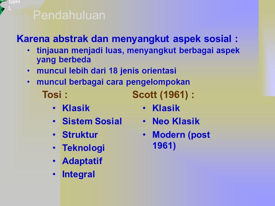 SBH L Karena abstrak dan menyangkut aspek sosial : tinjauan menjadi luas, menyangkut berbagai aspek yang berbeda muncul lebih dari 18 jenis orientasi muncul berbagai cara pengelompokan Tosi : Klasik Sistem Sosial Struktur Teknologi Adaptatif Integral Scott (1961) : Klasik Neo Klasik Modern (post 1961) Pendahuluan