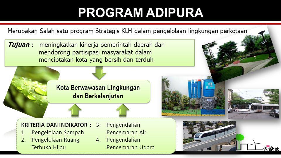 PROGRAM ADIPURA Kota Berwawasan Lingkungan dan Berkelanjutan Tujuan : meningkatkan kinerja pemerintah daerah dan mendorong partisipasi masyarakat dala