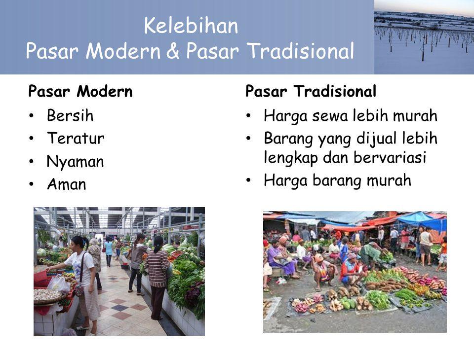 Kelebihan Pasar Modern & Pasar Tradisional Pasar Modern Bersih Teratur Nyaman Aman Pasar Tradisional Harga sewa lebih murah Barang yang dijual lebih lengkap dan bervariasi Harga barang murah
