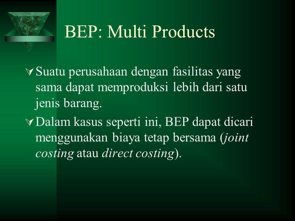  Suatu perusahaan dengan fasilitas yang sama dapat memproduksi lebih dari satu jenis barang.  Dalam kasus seperti ini, BEP dapat dicari menggunakan