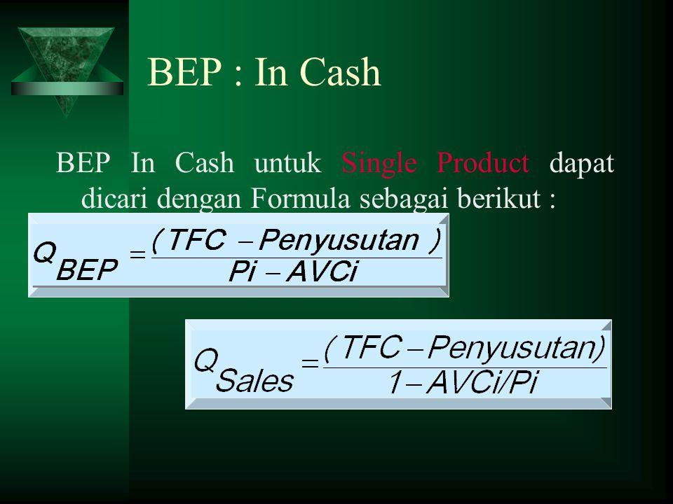 BEP In Cash untuk Single Product dapat dicari dengan Formula sebagai berikut : BEP : In Cash