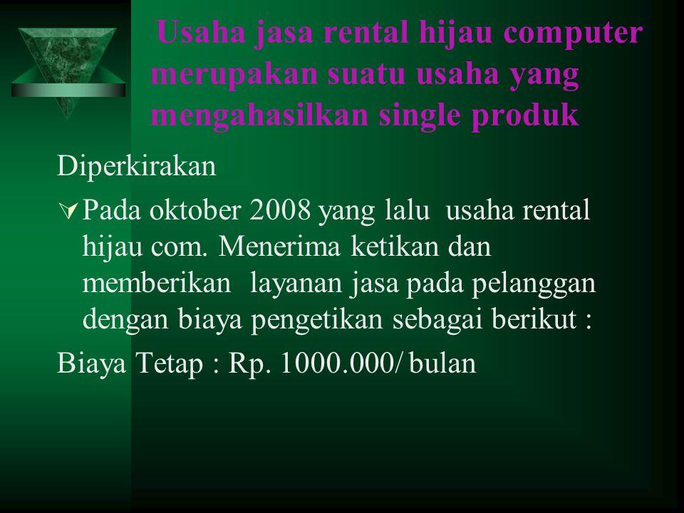 Usaha jasa rental hijau computer merupakan suatu usaha yang mengahasilkan single produk Diperkirakan  Pada oktober 2008 yang lalu usaha rental hijau com.