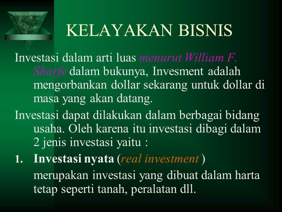 KELAYAKAN BISNIS Investasi dalam arti luas menurut William F.