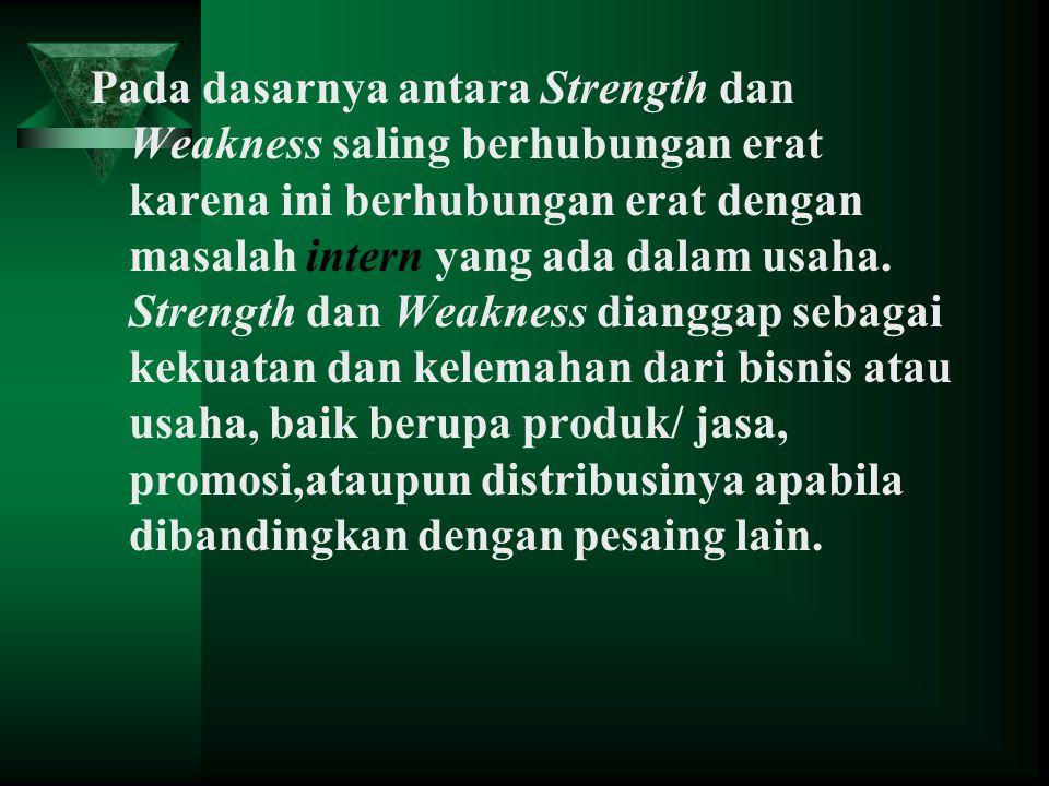 Ke Pada dasarnya antara Strength dan Weakness saling berhubungan erat karena ini berhubungan erat dengan masalah intern yang ada dalam usaha. Strength