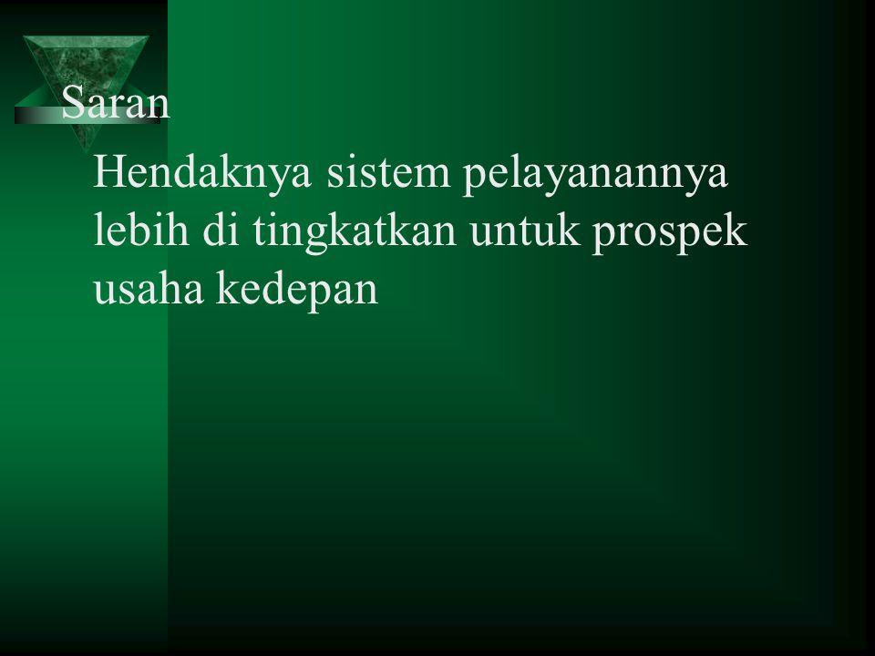 s Saran Hendaknya sistem pelayanannya lebih di tingkatkan untuk prospek usaha kedepan