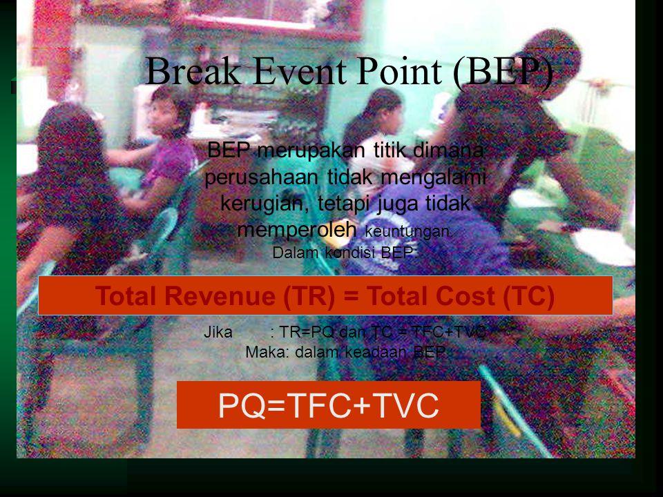Break Event Point (BEP) BEP merupakan titik dimana perusahaan tidak mengalami kerugian, tetapi juga tidak memperoleh keuntungan. Dalam kondisi BEP: Ji