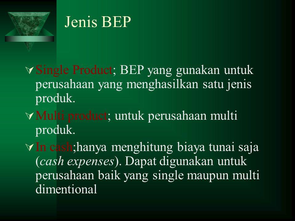  Single Product; BEP yang gunakan untuk perusahaan yang menghasilkan satu jenis produk.  Multi product; untuk perusahaan multi produk.  In cash;han