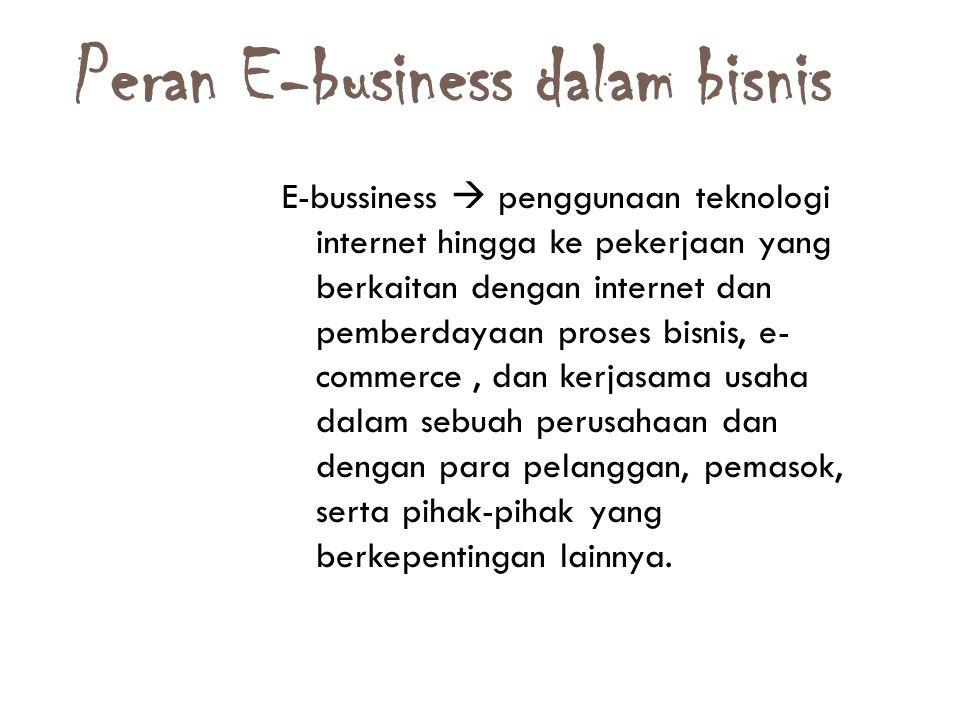 Peran E-business dalam bisnis 15 E-bussiness  penggunaan teknologi internet hingga ke pekerjaan yang berkaitan dengan internet dan pemberdayaan prose