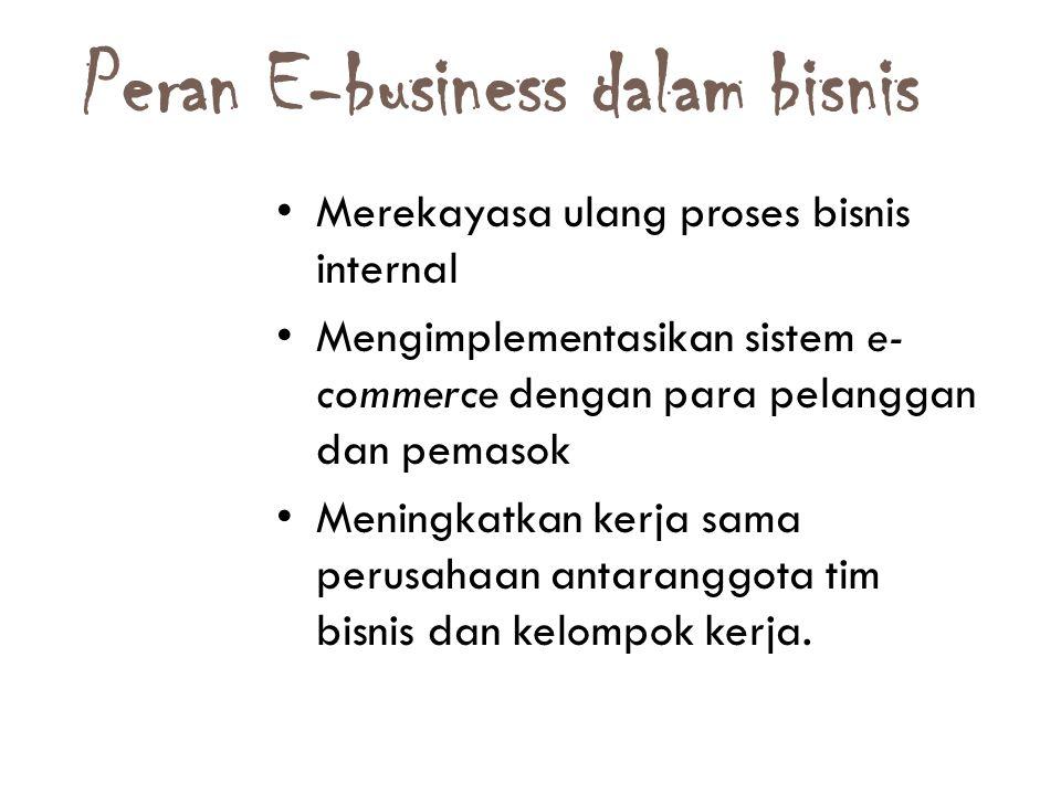 Peran E-business dalam bisnis 16 Merekayasa ulang proses bisnis internal Mengimplementasikan sistem e- commerce dengan para pelanggan dan pemasok Meningkatkan kerja sama perusahaan antaranggota tim bisnis dan kelompok kerja.
