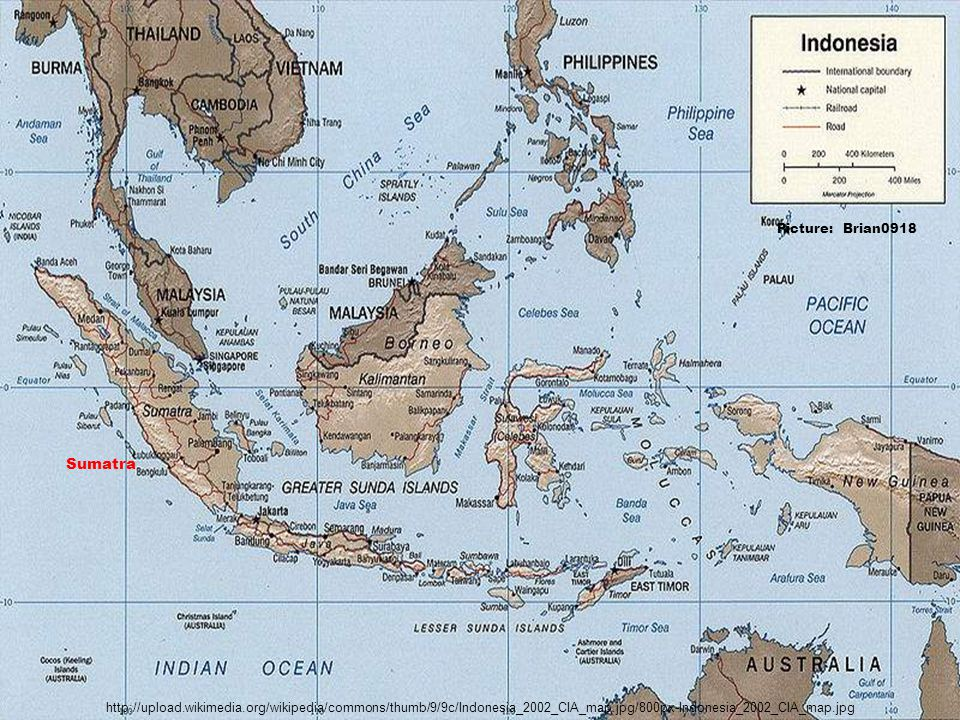 http://upload.wikimedia.org/wikipedia/commons/thumb/9/9c/Indonesia_2002_CIA_map.jpg/800px-Indonesia_2002_CIA_map.jpg Picture: Brian0918 Sumatra