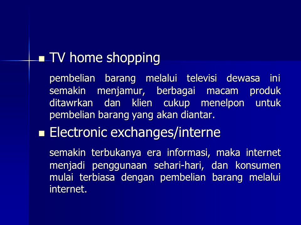 TV home shopping TV home shopping pembelian barang melalui televisi dewasa ini semakin menjamur, berbagai macam produk ditawrkan dan klien cukup menel