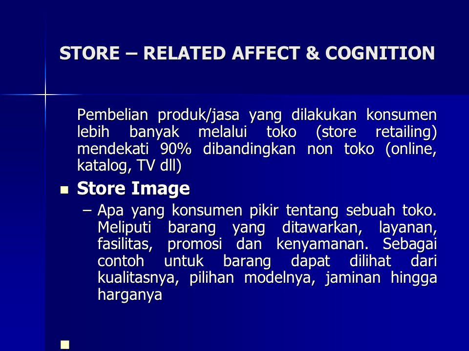 STORE – RELATED AFFECT & COGNITION Pembelian produk/jasa yang dilakukan konsumen lebih banyak melalui toko (store retailing) mendekati 90% dibandingka