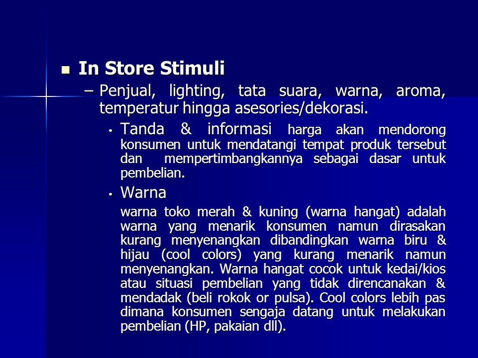 In Store Stimuli In Store Stimuli –Penjual, lighting, tata suara, warna, aroma, temperatur hingga asesories/dekorasi. Tanda & informasi harga akan men