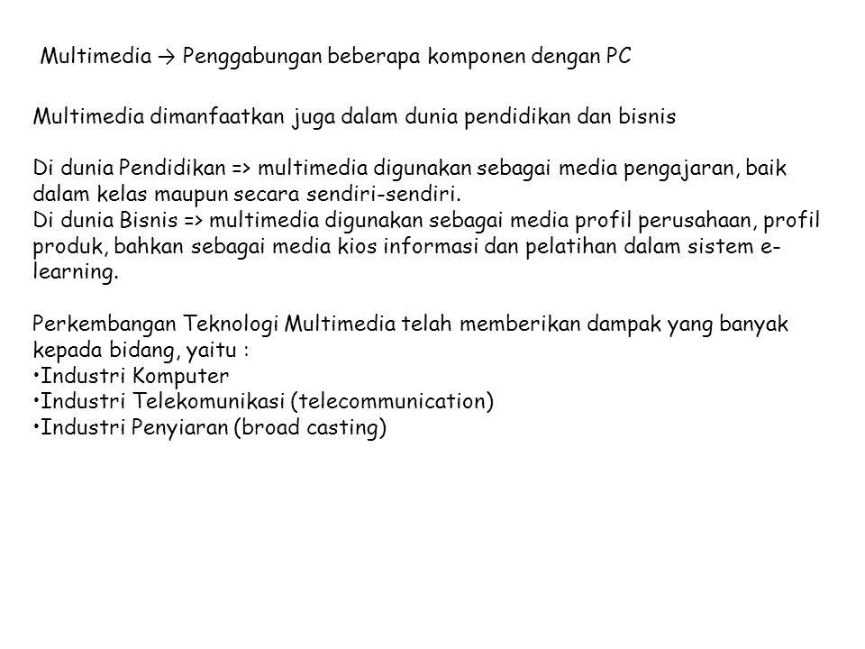 Multimedia dimanfaatkan juga dalam dunia pendidikan dan bisnis Di dunia Pendidikan => multimedia digunakan sebagai media pengajaran, baik dalam kelas