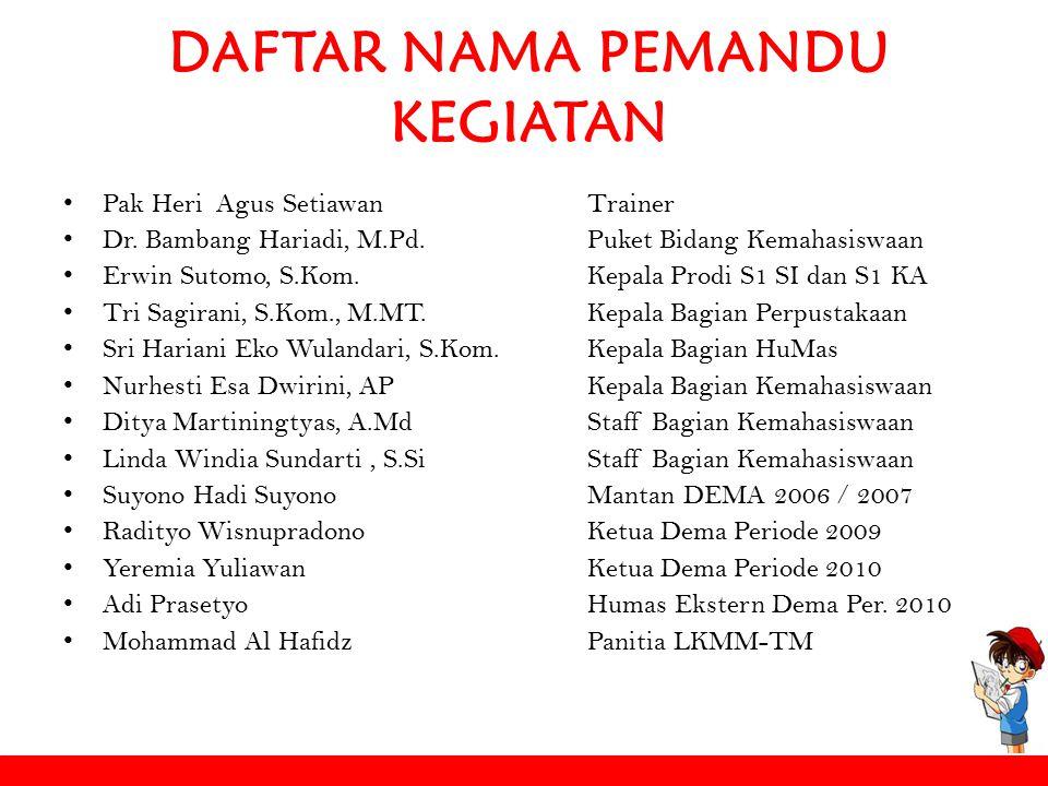 DAFTAR NAMA PEMANDU KEGIATAN Pak Heri Agus SetiawanTrainer Dr. Bambang Hariadi, M.Pd.Puket Bidang Kemahasiswaan Erwin Sutomo, S.Kom. Kepala Prodi S1 S