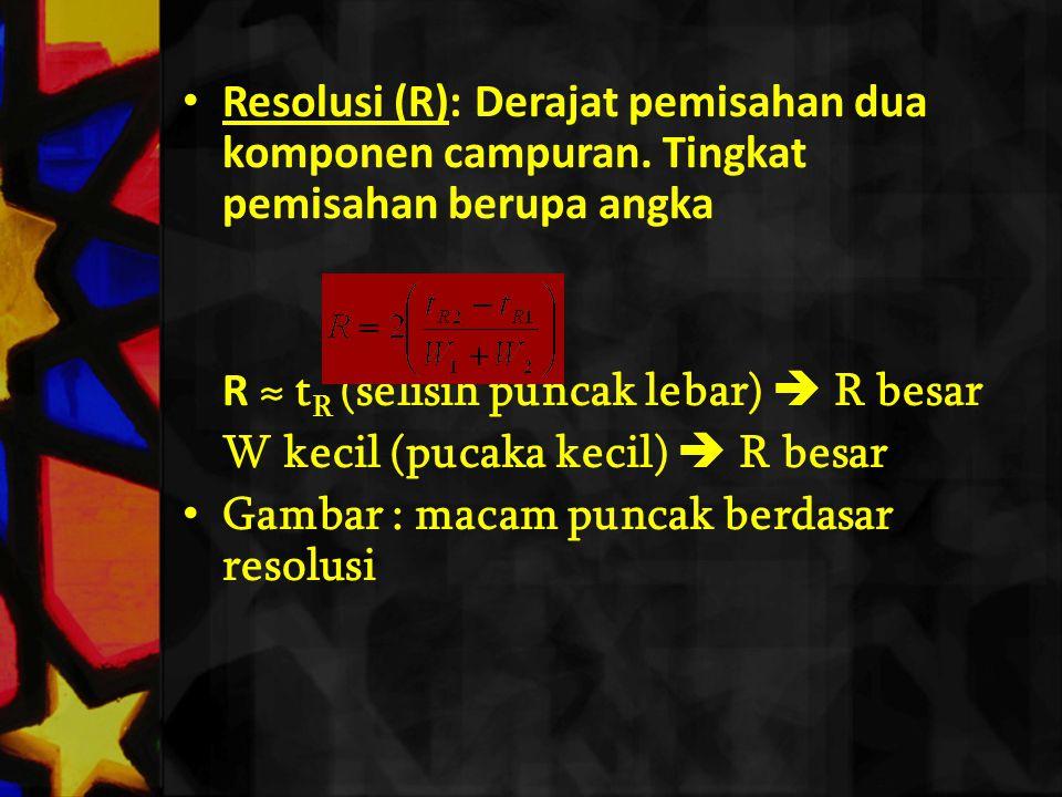 Resolusi (R): Derajat pemisahan dua komponen campuran. Tingkat pemisahan berupa angka R ≈ t R (selisih puncak lebar)  R besar W kecil (pucaka kecil)