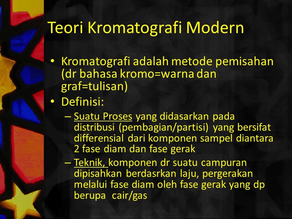 Kromatografi adalah metode pemisahan (dr bahasa kromo=warna dan graf=tulisan) Definisi: – Suatu Proses yang didasarkan pada distribusi (pembagian/part