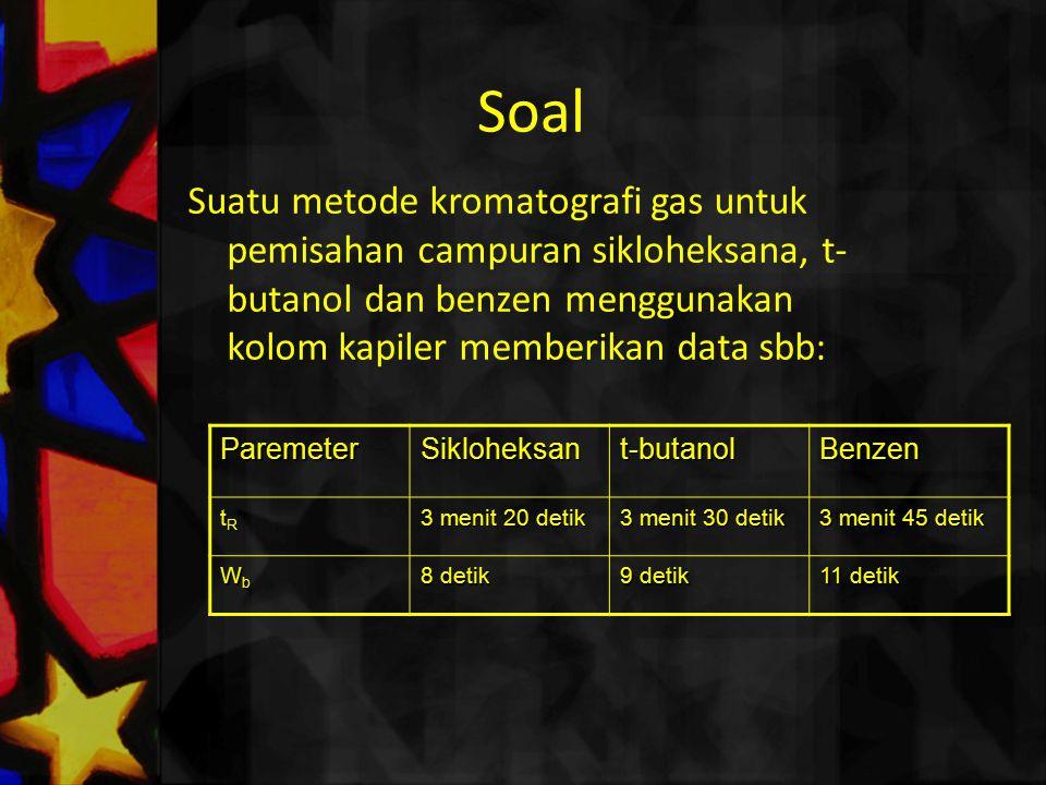 Soal Suatu metode kromatografi gas untuk pemisahan campuran sikloheksana, t- butanol dan benzen menggunakan kolom kapiler memberikan data sbb: Paremet