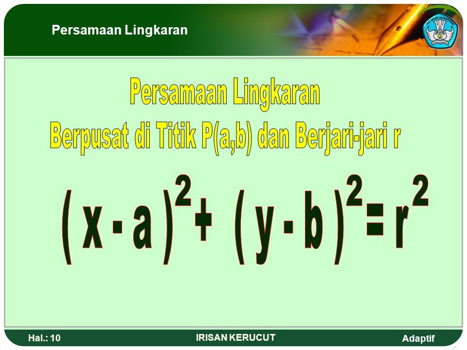 Adaptif Hal.: 9 IRISAN KERUCUT P (a,b ) r T (x,y) PT = r (x- a) + (y-b) = r 2 22 ( x 2 - x 1 ) + ( y 2 - y 1 ) = r 22 ( x - a ) + ( y - b ) = r 22 O X
