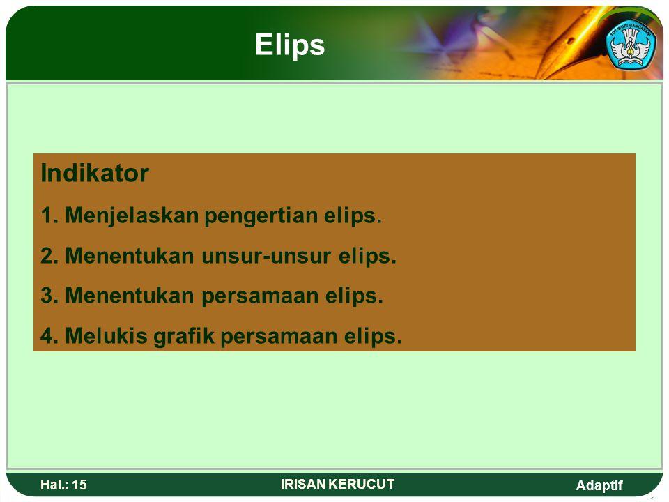 Adaptif Hal.: 14 IRISAN KERUCUT Elips Indikator 1. Menjelaskan pengertian elips. 2. Menentukan unsur-unsur elips. 3. Menentukan persamaan elips 4. Mel