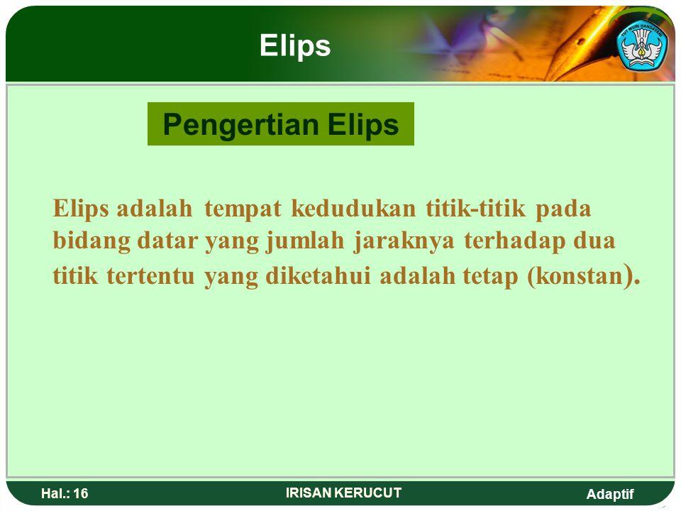 Adaptif Hal.: 15 IRISAN KERUCUT Elips Indikator 1. Menjelaskan pengertian elips. 2. Menentukan unsur-unsur elips. 3. Menentukan persamaan elips. 4. Me