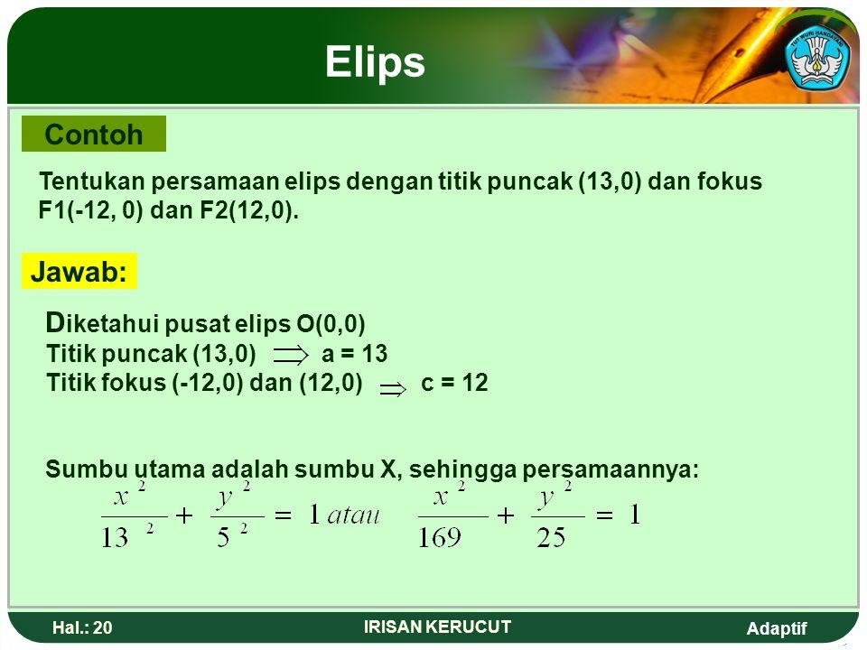 Adaptif Hal.: 19 IRISAN KERUCUT Elips 1. Persamaan Elips yang berpusat di O(0,0) Persamaan Elips : TF 1 + TF2 = 2a + = 2a = 2a - Mengkuadratkan ruas k