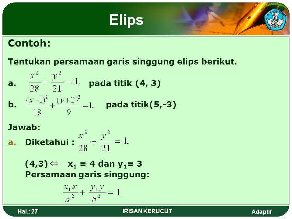 Adaptif Hal.: 26 IRISAN KERUCUT Elips Persamaan garis singgung dengan gradien p Pada elips atau,adalah y= p Untuk elips dengan persamaan: Persamaan ga