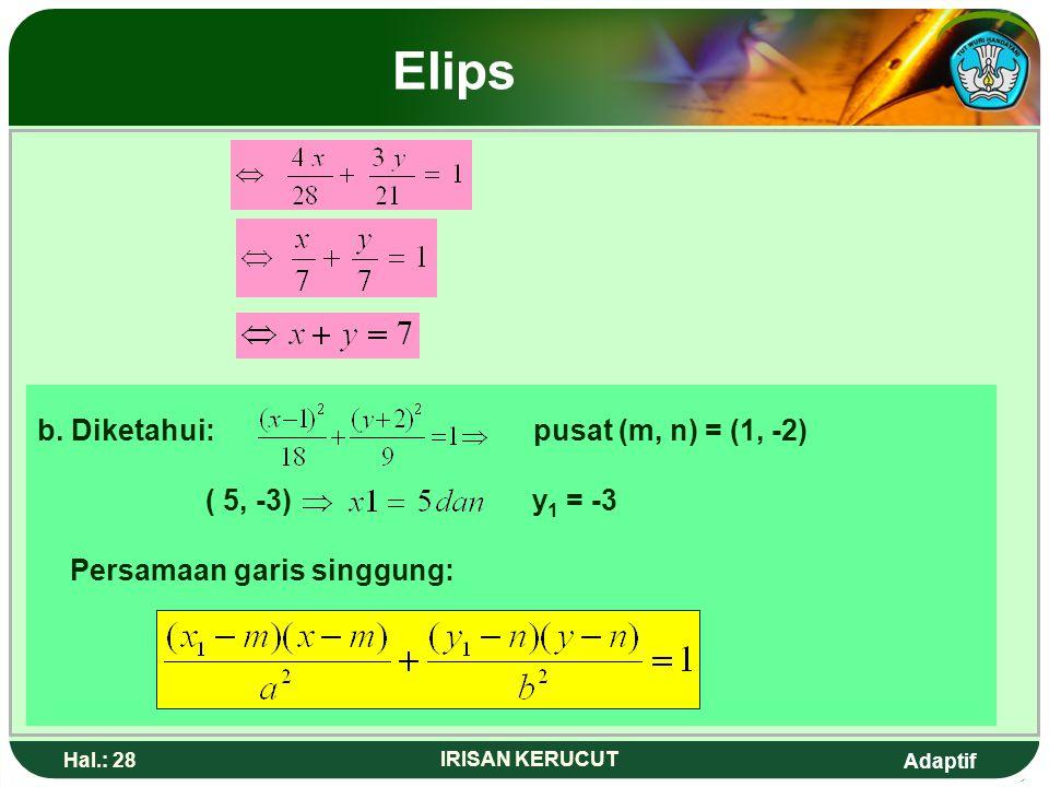 Adaptif Hal.: 27 IRISAN KERUCUT Elips Contoh: Tentukan persamaan garis singgung elips berikut. a. pada titik (4, 3) b. pada titik(5,-3) Jawab: a.Diket