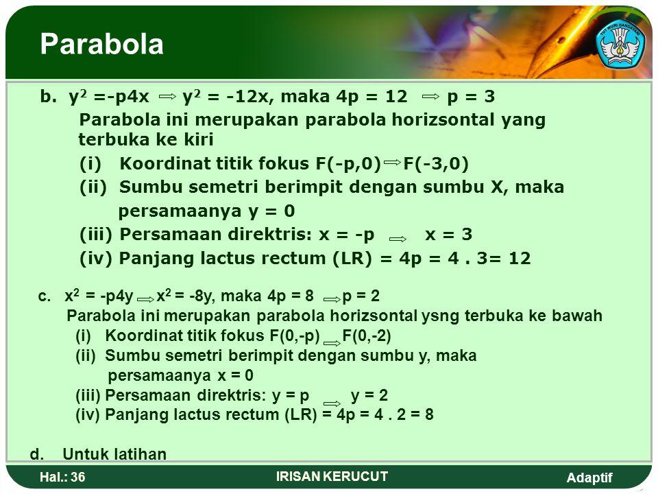 Adaptif Hal.: 35 IRISAN KERUCUT Parabola Contoh: 1.Dari parabola-parabola berikut tentukan koordinat fokus,persamaan sumbu semetri,persamaan direktris