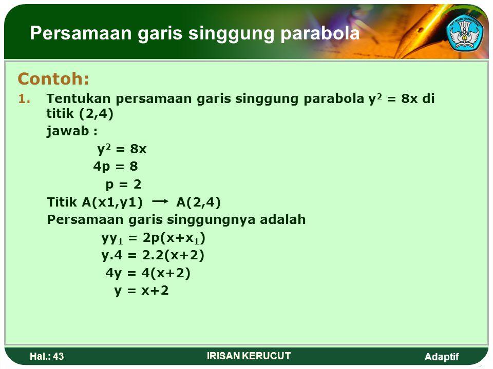 Adaptif Hal.: 42 IRISAN KERUCUT Persamaan garis singgung parabola Persamaan parabola melaluhi titik A(x1,y1) di sajikan pada tabel berikut Persamaan P