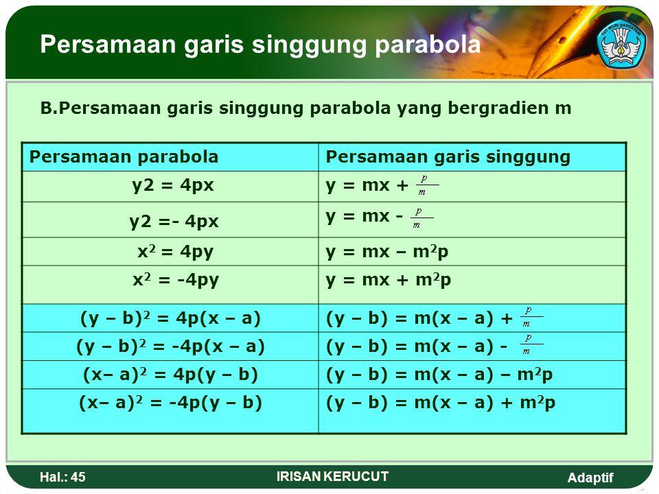 Adaptif Hal.: 44 IRISAN KERUCUT Persamaan garis singgung parabola 2. Tentukan persamaan garis singgung parabola (x+1) 2 = -3(y-2) pada titik (2,-1) Ja