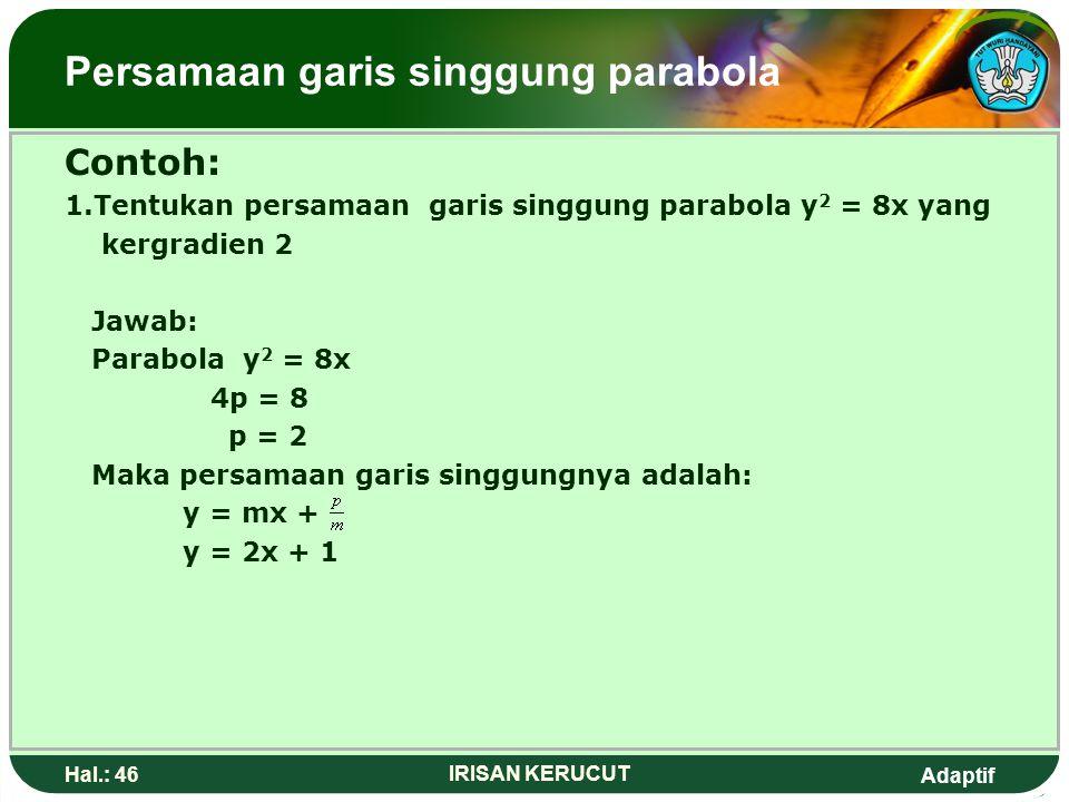 Adaptif Hal.: 45 IRISAN KERUCUT Persamaan garis singgung parabola B.Persamaan garis singgung parabola yang bergradien m Persamaan parabolaPersamaan ga