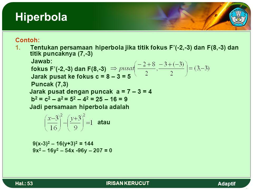 Adaptif Hal.: 52 IRISAN KERUCUT Hiperbola A. Persamaaan Hiperbola dengan pusat P(m,n) x y 0 Y = BAF(C,0)F'(-C,0) N a. Pusat P(m,n) b. Fokus F'(m-C,0)
