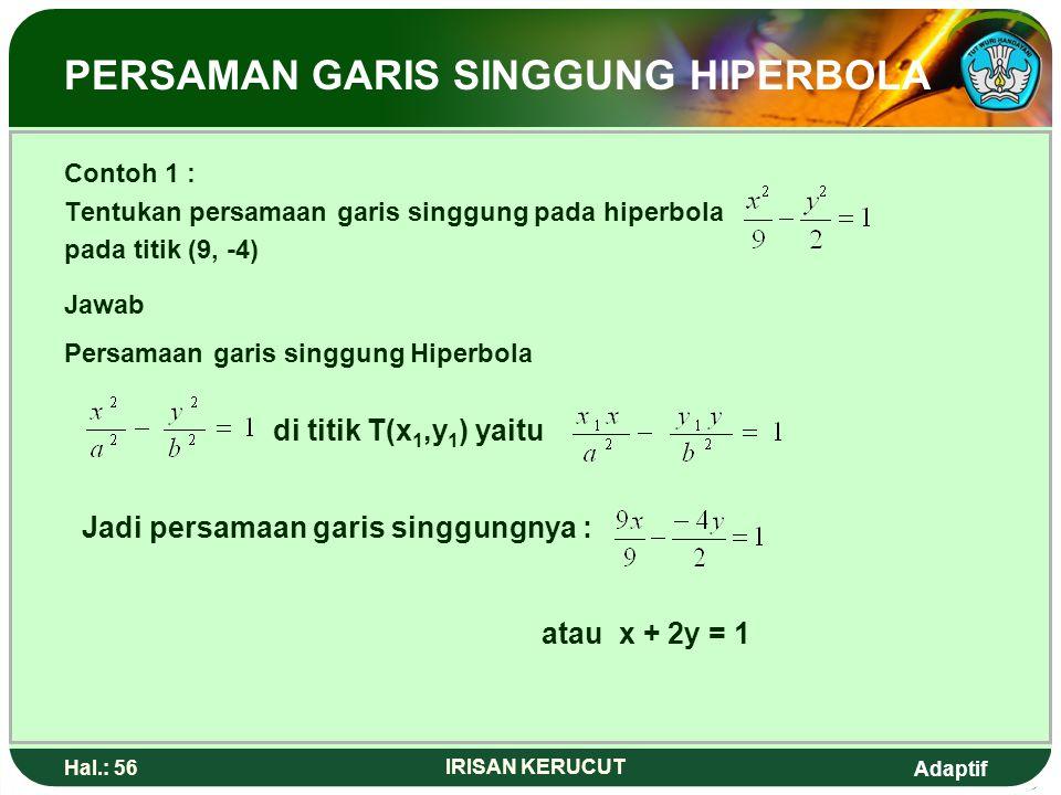 Adaptif Hal.: 55 IRISAN KERUCUT Persamaan Garis Singgung Hiperbola Persamaan garis singgung hiperbola melelaluiT(x 1,y 1 ) Persamaan garis singgung di