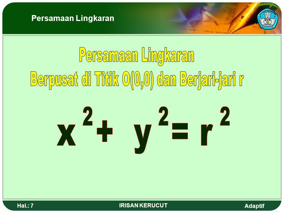 Adaptif Hal.: 57 IRISAN KERUCUT Persamaan garis singgung Hiperbola Contoh 2 Tentukan persamaan garis singgung hiperbola Pada titik (-4, -3) Jawab : Persamaan garis singgung hiperbola di titik T(x 1,y 1 ) yaitu Jadi persamaan garissinggungnya : x = - 4