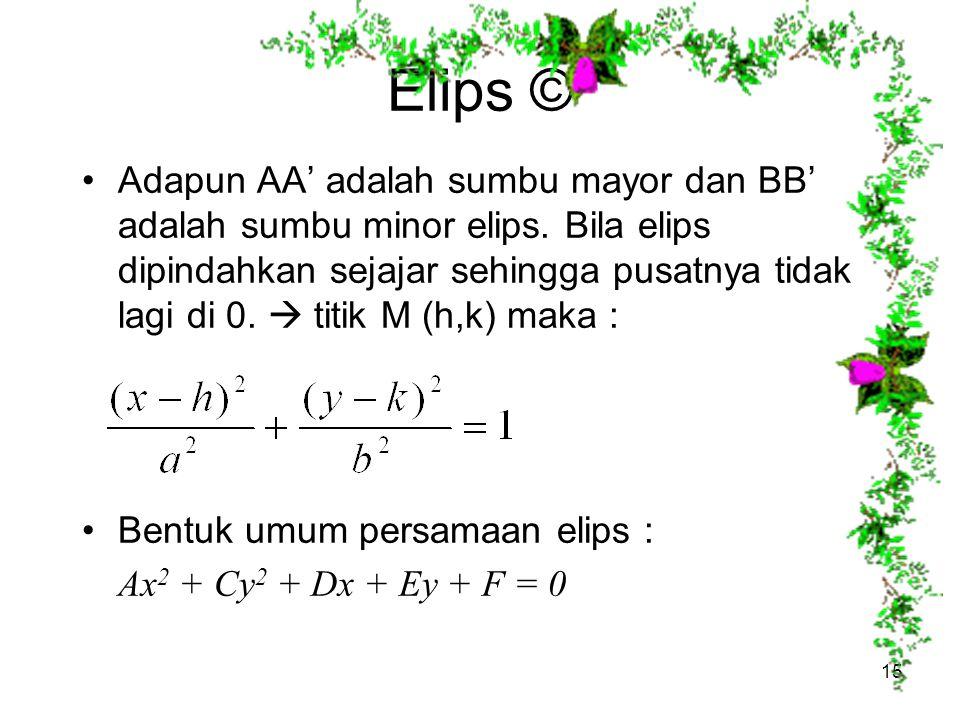Elips © Adapun AA' adalah sumbu mayor dan BB' adalah sumbu minor elips. Bila elips dipindahkan sejajar sehingga pusatnya tidak lagi di 0.  titik M (h