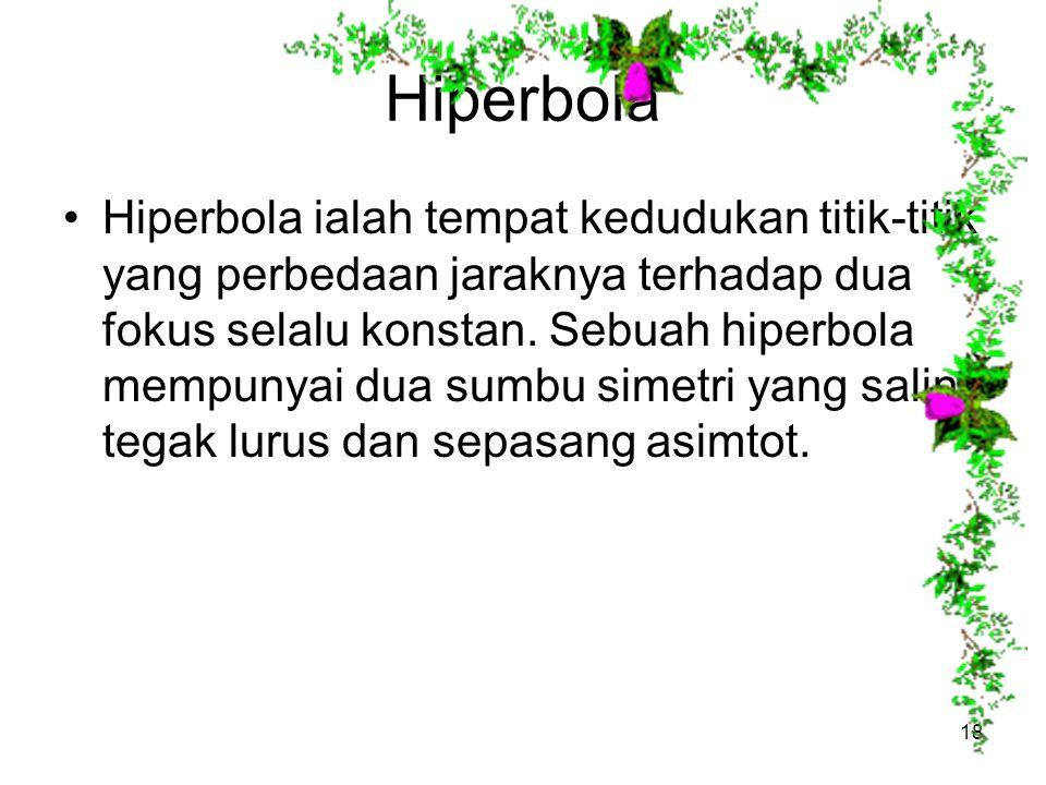 Hiperbola Hiperbola ialah tempat kedudukan titik-titik yang perbedaan jaraknya terhadap dua fokus selalu konstan. Sebuah hiperbola mempunyai dua sumbu