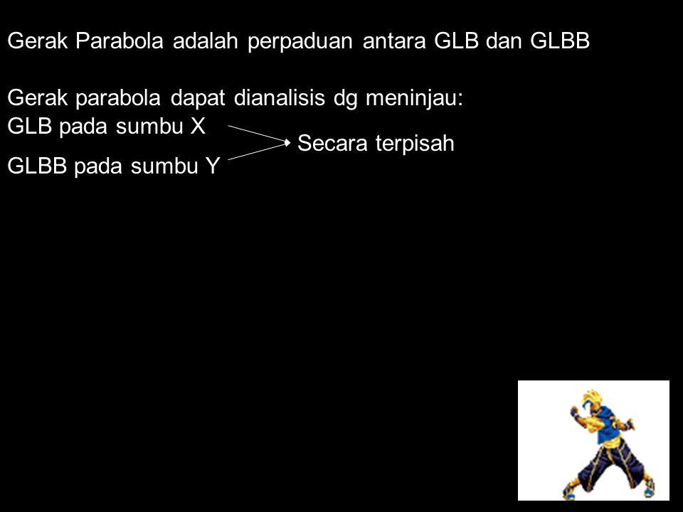 Gerak Parabola adalah perpaduan antara GLB dan GLBB Gerak parabola dapat dianalisis dg meninjau: GLB pada sumbu X GLBB pada sumbu Y Secara terpisah