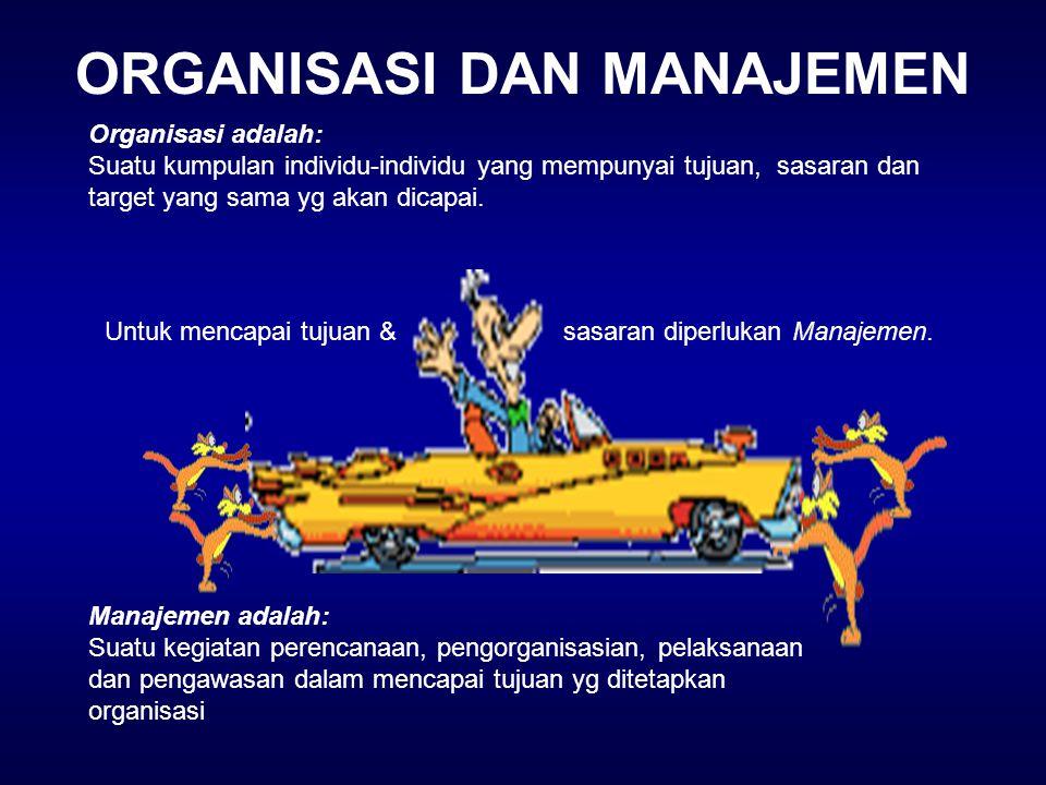 ORGANISASI DAN MANAJEMEN Organisasi adalah: Suatu kumpulan individu-individu yang mempunyai tujuan, sasaran dan target yang sama yg akan dicapai. Untu