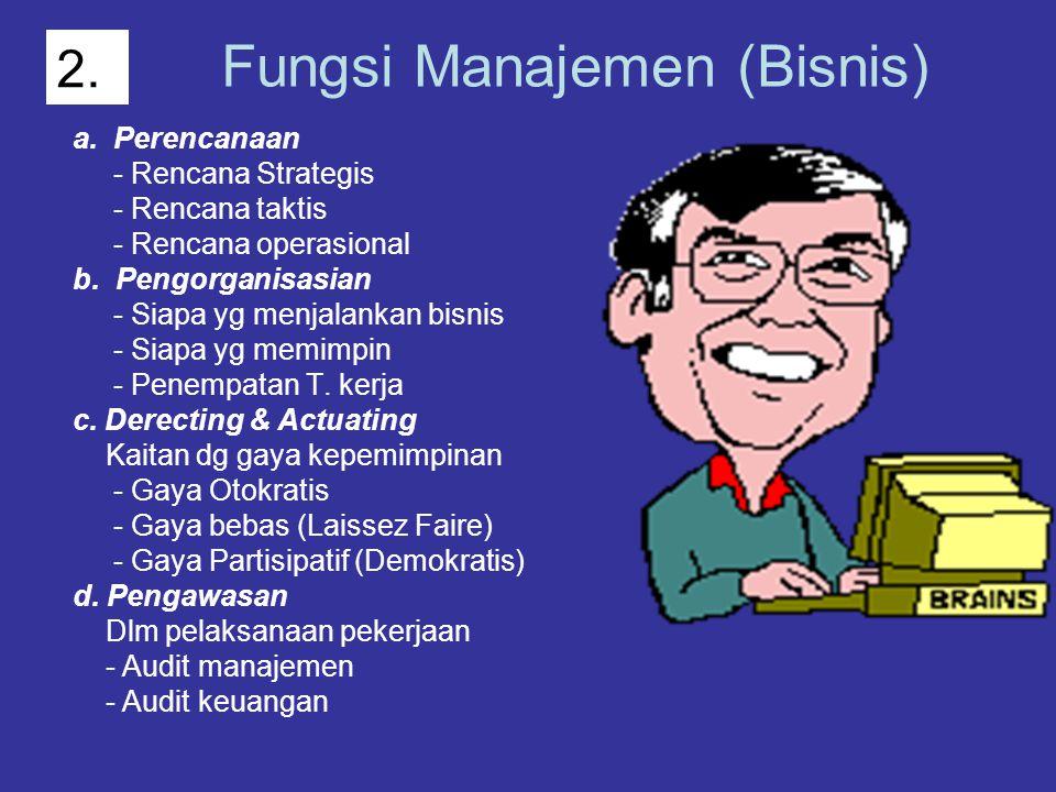 Fungsi Manajemen (Bisnis) a. Perencanaan - Rencana Strategis - Rencana taktis - Rencana operasional b. Pengorganisasian - Siapa yg menjalankan bisnis