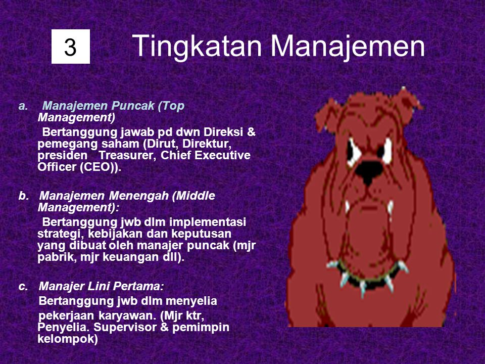 Tingkatan Manajemen a. Manajemen Puncak (Top Management) Bertanggung jawab pd dwn Direksi & pemegang saham (Dirut, Direktur, presiden Treasurer, Chief