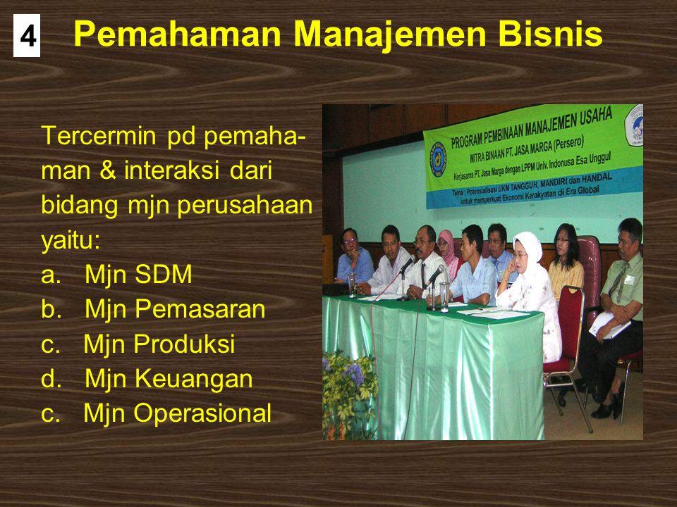 Pemahaman Manajemen Bisnis Tercermin pd pemaha- man & interaksi dari bidang mjn perusahaan yaitu: a. Mjn SDM b. Mjn Pemasaran c. Mjn Produksi d. Mjn K