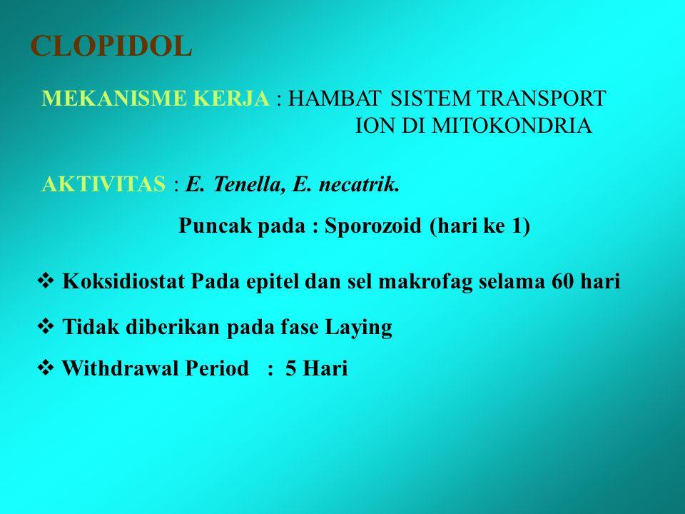 CLOPIDOL MEKANISME KERJA : HAMBAT SISTEM TRANSPORT ION DI MITOKONDRIA AKTIVITAS : E.