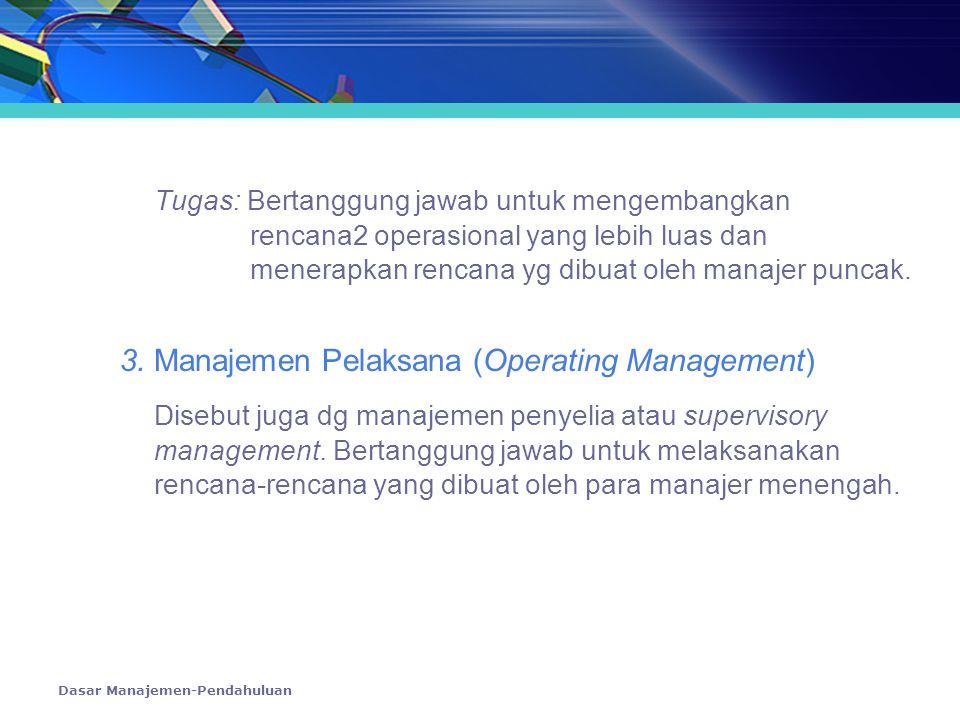 Dasar Manajemen-Pendahuluan Tugas: Bertanggung jawab untuk mengembangkan rencana2 operasional yang lebih luas dan menerapkan rencana yg dibuat oleh ma