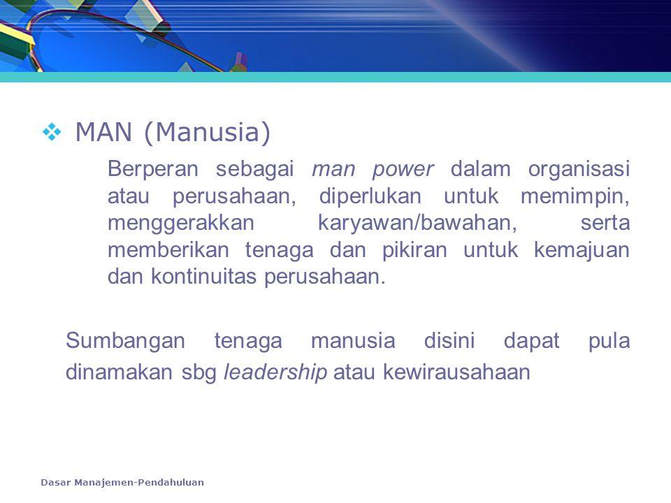Dasar Manajemen-Pendahuluan  MAN (Manusia) Berperan sebagai man power dalam organisasi atau perusahaan, diperlukan untuk memimpin, menggerakkan karya