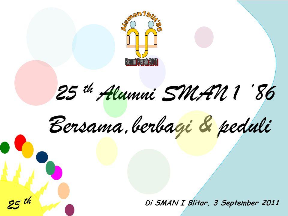 25 th 25 th Alumni SMAN 1 '86 Bersama,berbagi & peduli LOGO SPONSOR 'GOLD' KAOS ALUMNI TAMPAK DEPAN LOGO SPONSOR PENDAMPING